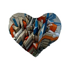 Abstraction Imagination City District Building Graffiti Standard 16  Premium Flano Heart Shape Cushions by Simbadda