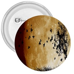 Birds Sky Planet Moon Shadow 3  Buttons by Simbadda