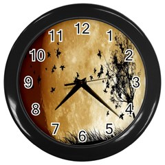 Birds Sky Planet Moon Shadow Wall Clocks (black) by Simbadda
