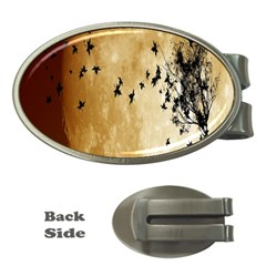 Birds Sky Planet Moon Shadow Money Clips (oval)  by Simbadda