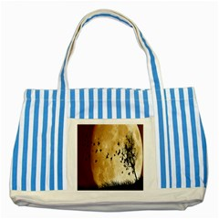 Birds Sky Planet Moon Shadow Striped Blue Tote Bag by Simbadda