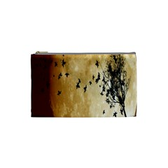 Birds Sky Planet Moon Shadow Cosmetic Bag (small)  by Simbadda