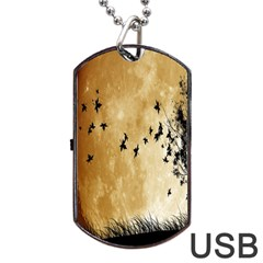 Birds Sky Planet Moon Shadow Dog Tag Usb Flash (one Side) by Simbadda