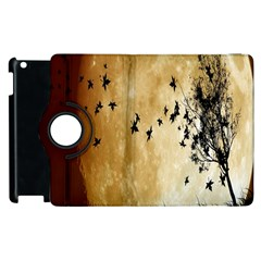 Birds Sky Planet Moon Shadow Apple Ipad 2 Flip 360 Case by Simbadda