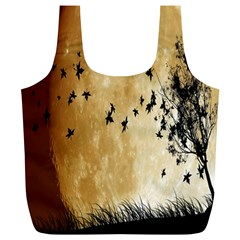 Birds Sky Planet Moon Shadow Full Print Recycle Bags (l)  by Simbadda