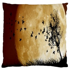 Birds Sky Planet Moon Shadow Large Flano Cushion Case (one Side) by Simbadda
