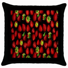 Berry Strawberry Many Throw Pillow Case (black) by Simbadda