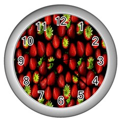 Berry Strawberry Many Wall Clocks (silver)  by Simbadda