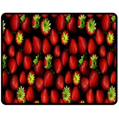 Berry Strawberry Many Double Sided Fleece Blanket (medium)  by Simbadda