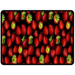 Berry Strawberry Many Double Sided Fleece Blanket (large)  by Simbadda