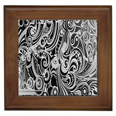 Black White Pattern Shape Patterns Framed Tiles