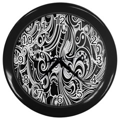 Black White Pattern Shape Patterns Wall Clocks (black) by Simbadda