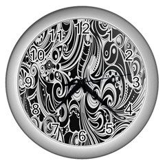 Black White Pattern Shape Patterns Wall Clocks (silver)  by Simbadda