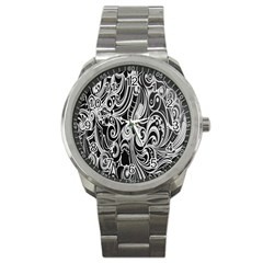 Black White Pattern Shape Patterns Sport Metal Watch by Simbadda