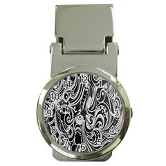 Black White Pattern Shape Patterns Money Clip Watches by Simbadda