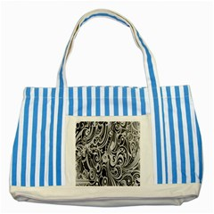 Black White Pattern Shape Patterns Striped Blue Tote Bag by Simbadda