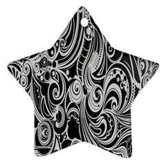 Black White Pattern Shape Patterns Star Ornament (two Sides) by Simbadda