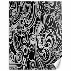 Black White Pattern Shape Patterns Canvas 12  X 16   by Simbadda