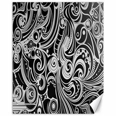 Black White Pattern Shape Patterns Canvas 11  X 14   by Simbadda