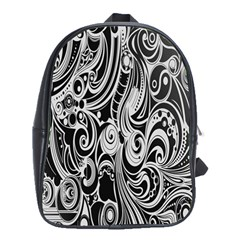 Black White Pattern Shape Patterns School Bags(large)  by Simbadda