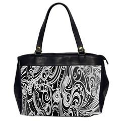 Black White Pattern Shape Patterns Office Handbags (2 Sides)  by Simbadda