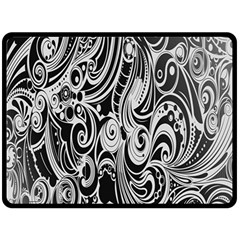 Black White Pattern Shape Patterns Fleece Blanket (large)  by Simbadda