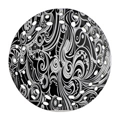 Black White Pattern Shape Patterns Ornament (round Filigree) by Simbadda