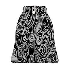 Black White Pattern Shape Patterns Ornament (bell) by Simbadda