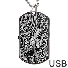 Black White Pattern Shape Patterns Dog Tag Usb Flash (one Side) by Simbadda