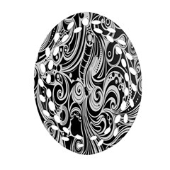 Black White Pattern Shape Patterns Oval Filigree Ornament (two Sides) by Simbadda