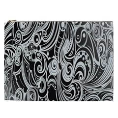 Black White Pattern Shape Patterns Cosmetic Bag (xxl)  by Simbadda