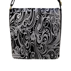 Black White Pattern Shape Patterns Flap Messenger Bag (l)  by Simbadda