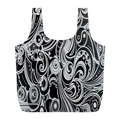 Black White Pattern Shape Patterns Full Print Recycle Bags (l)  by Simbadda