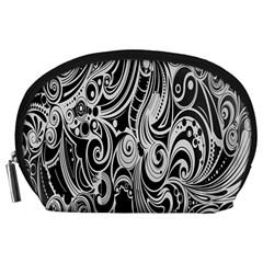 Black White Pattern Shape Patterns Accessory Pouches (large)  by Simbadda