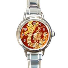 Fabric Pattern Dragon Embroidery Texture Round Italian Charm Watch by Simbadda