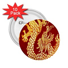 Fabric Pattern Dragon Embroidery Texture 2 25  Buttons (10 Pack)  by Simbadda