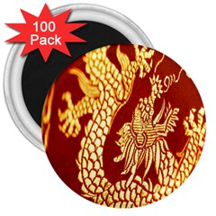 Fabric Pattern Dragon Embroidery Texture 3  Magnets (100 Pack) by Simbadda
