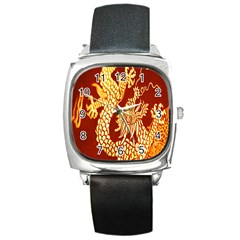 Fabric Pattern Dragon Embroidery Texture Square Metal Watch by Simbadda