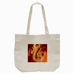 Fabric Pattern Dragon Embroidery Texture Tote Bag (cream) by Simbadda