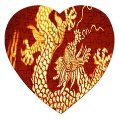 Fabric Pattern Dragon Embroidery Texture Jigsaw Puzzle (heart) by Simbadda