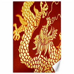 Fabric Pattern Dragon Embroidery Texture Canvas 24  X 36  by Simbadda