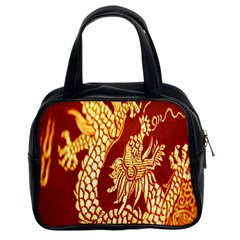 Fabric Pattern Dragon Embroidery Texture Classic Handbags (2 Sides) by Simbadda