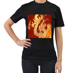 Fabric Pattern Dragon Embroidery Texture Women s T Shirt (black) by Simbadda