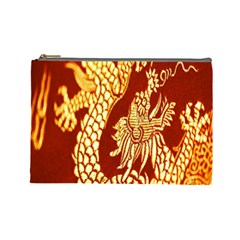 Fabric Pattern Dragon Embroidery Texture Cosmetic Bag (large)  by Simbadda