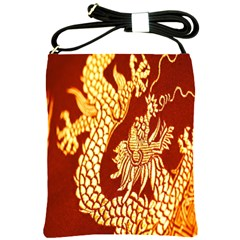 Fabric Pattern Dragon Embroidery Texture Shoulder Sling Bags by Simbadda