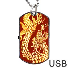 Fabric Pattern Dragon Embroidery Texture Dog Tag Usb Flash (one Side) by Simbadda