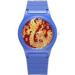 Fabric Pattern Dragon Embroidery Texture Round Plastic Sport Watch (s) by Simbadda