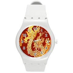Fabric Pattern Dragon Embroidery Texture Round Plastic Sport Watch (m) by Simbadda