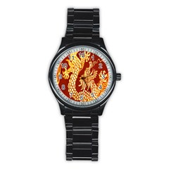 Fabric Pattern Dragon Embroidery Texture Stainless Steel Round Watch by Simbadda