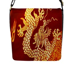 Fabric Pattern Dragon Embroidery Texture Flap Messenger Bag (l)  by Simbadda